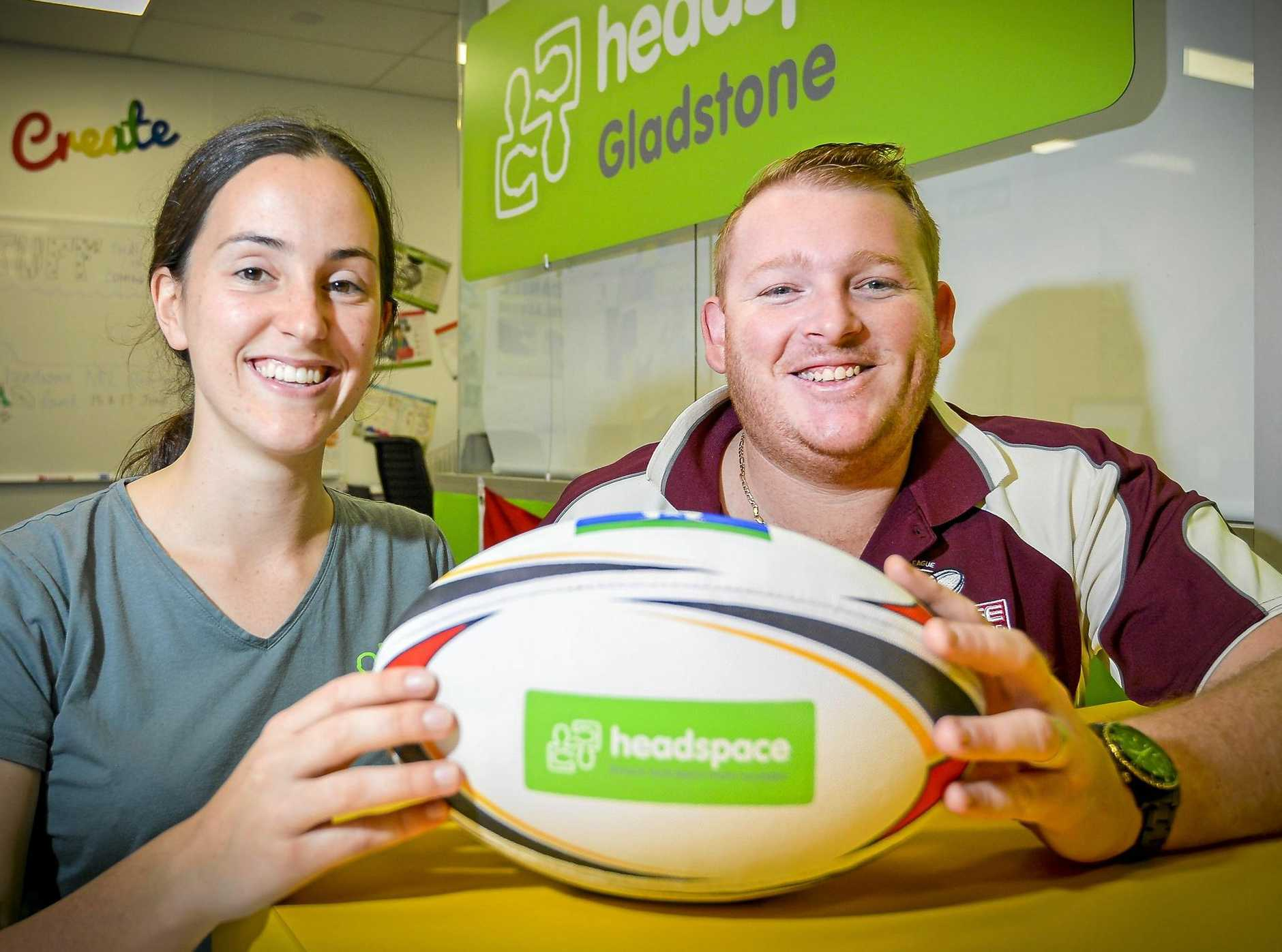 Headspace Gladstone youth and commuity engagement leader, Rachel Donovan and Gladstone Rugby League Referees Association president Cameron Shearer ahead of the 2018 annual charity round in Gladstone.
