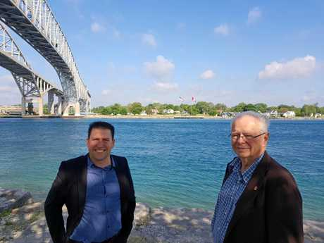 Gladstone Region Mayor Matt Burnett pictured near the Blue Water Bridge on the St Clair River at Sarnia, Canada.