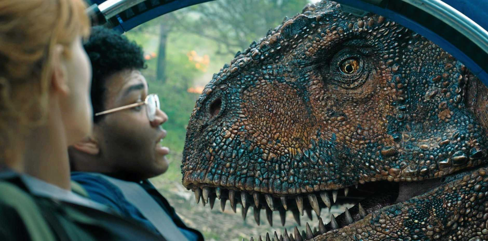 Bryce Dallas Howard and Justice Smith in a scene from Jurassic World: Fallen Kingdom.