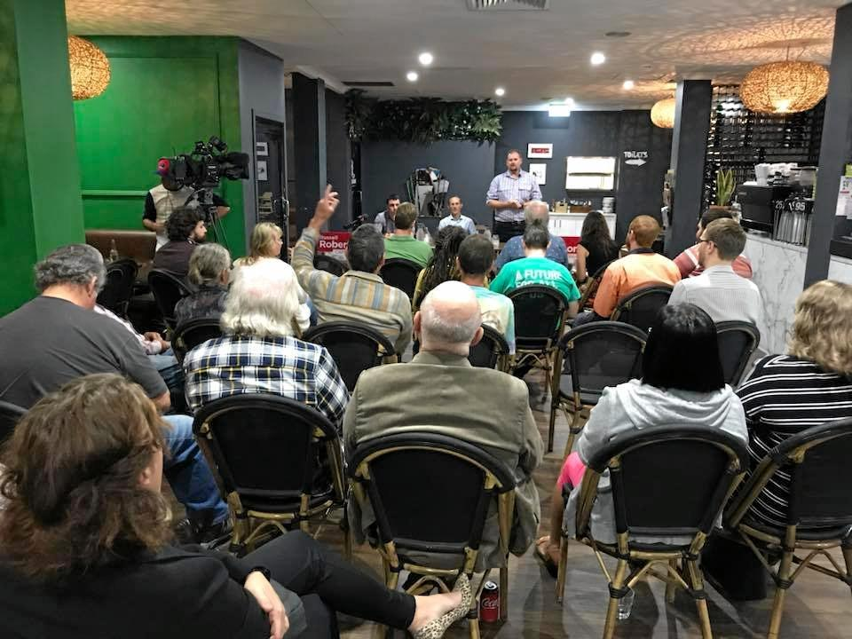 BANKING FORUM: Labor's Candidate for Capricornia Russell Robertson spoke to concerned locals at the Community Forum held at the Giddy Goat on Monday night.