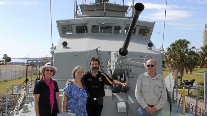 Ingrid Hausmann, Angela Ingram, Brett Ingram and Clive Hausmann on HMAS Gladstone.
