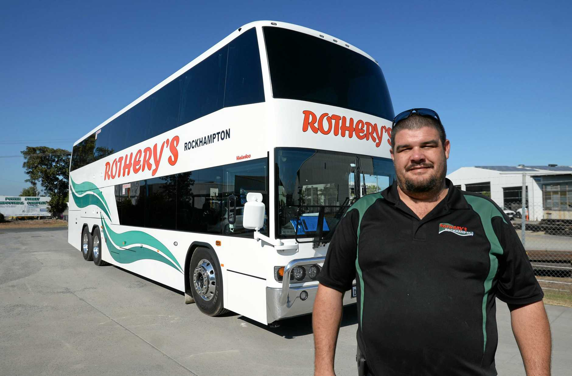Kurt Rothery with the new Denning double decker 73 seat coach.