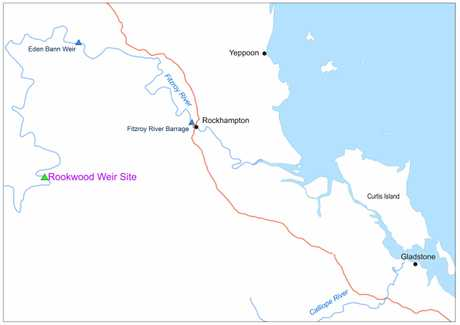 MAP: Rookwood Weir's proposed location.