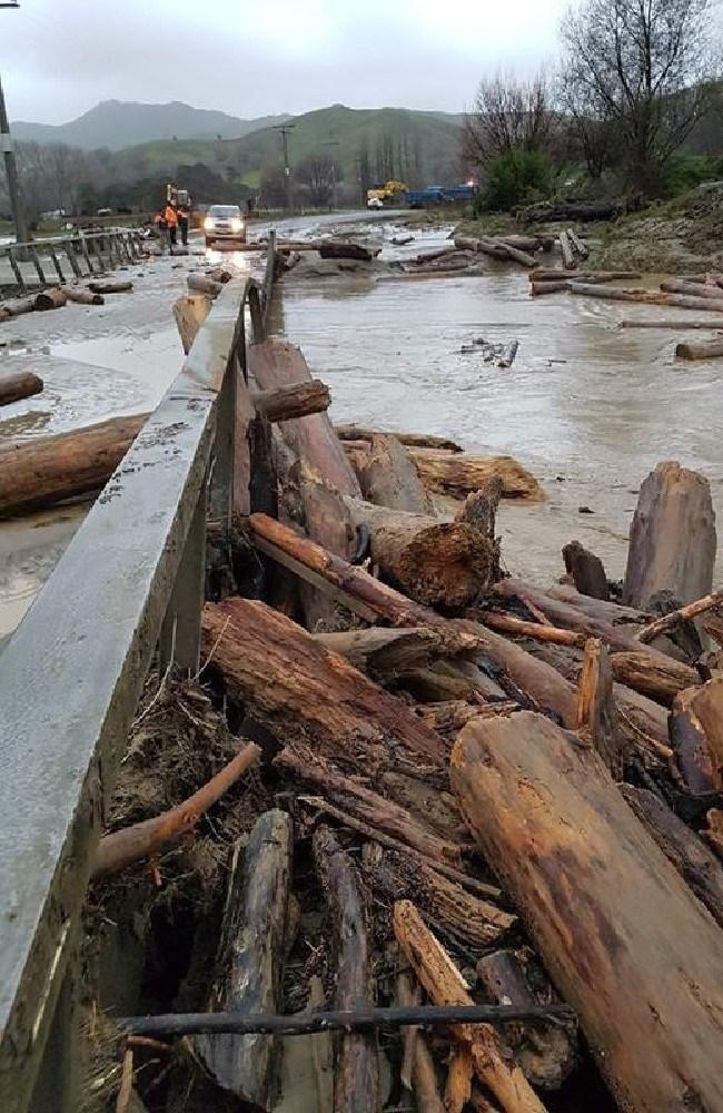 Wiggin Bridge on Tauwhareparae Road has been hit again. Picture: Gisborne District Council