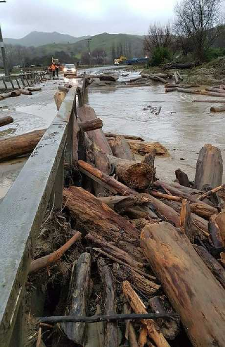 Wiggin Bridge on Tauwhareparae Road has been hit again. Picture: Gisborne District Council
