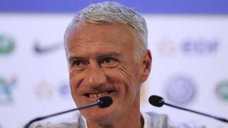 France head coach Didier Deschamp speaking to the media in Russia.