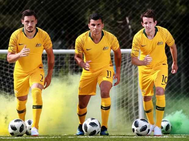 Robbie Kruse (R) with fellow Socceroos speedsters Mathew Leckie (R) and Andrew Nabbout. Picture: Toby Zerna