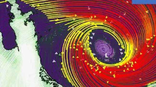 A NZ MetService Twitter image of gales in the Bay of Plenty region.