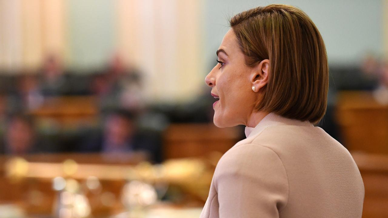 Queensland Treasurer Jackie Trad delivers the state's 2018-19 budget at Parliament House today. Picture: Dan Peled/AAP