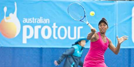 Abigail Tere-Apisah playing in the Womens semi final, Toowoomba Tennis International. Saturday, 7th Oct, 2017.