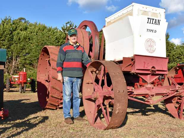 VINTAGE TRACTOR COLLECTION: Albert Brimblecombe with the oldest tractor in his collection - the Titan type D, built in 1911.