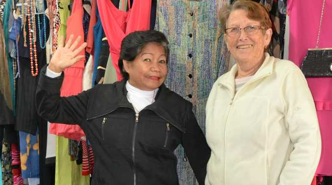 GIVING BACK: Maria White and Clare McGilvery love volunteering at Gunther Village Opportunity Shop.