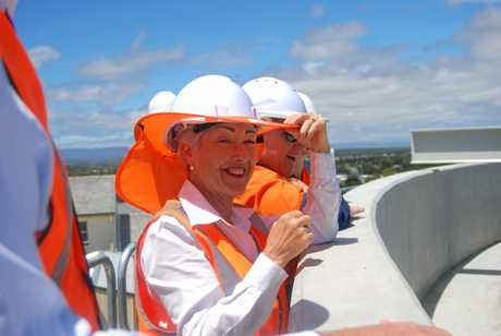 Southern Downs Regional Council Mayor Tracy Dobie observes the new Warwick Water Treatment Plant Clarifier at Glen Rd.