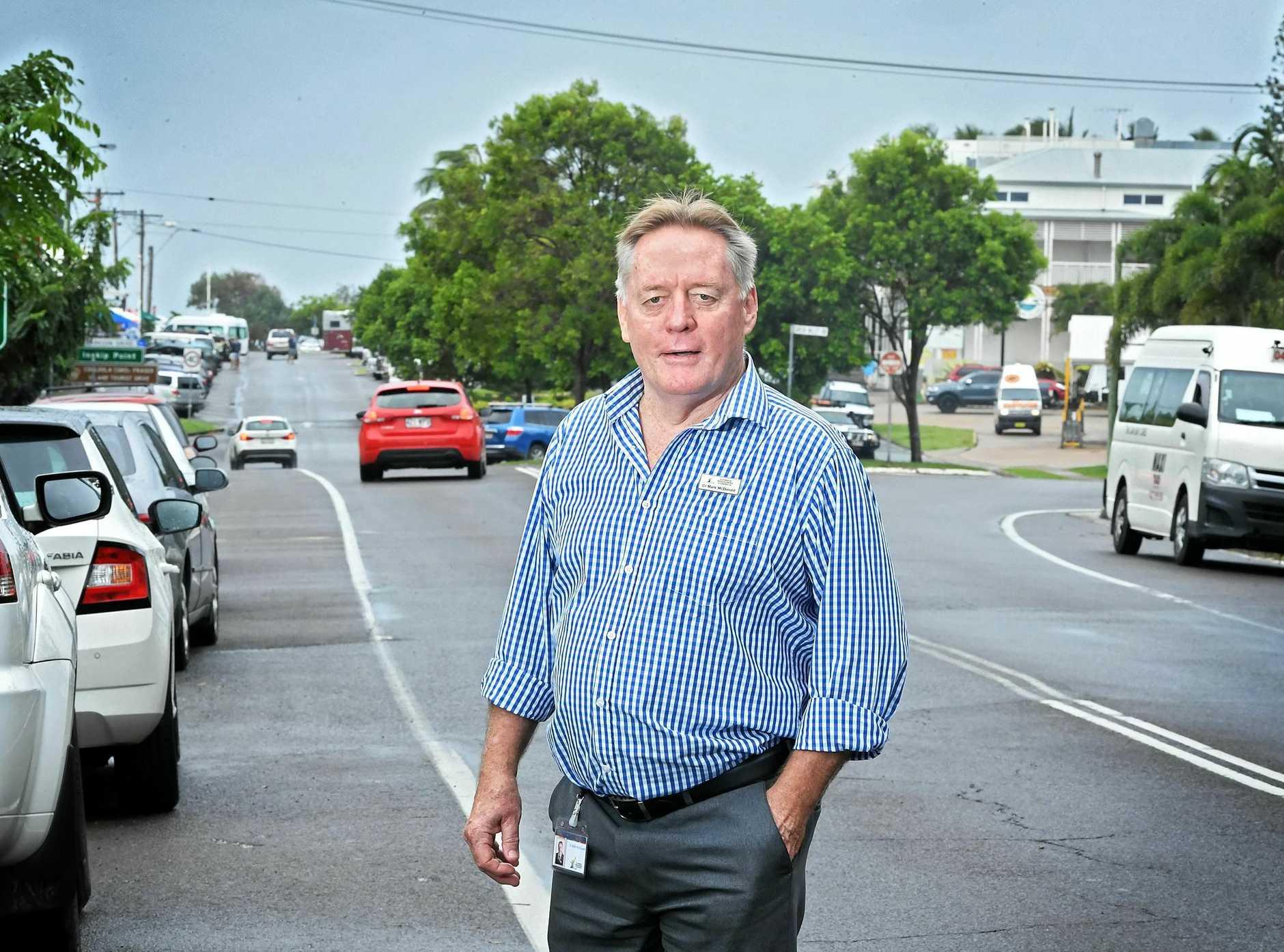 Rainbow Beach main street Cr Mark McDonald.
