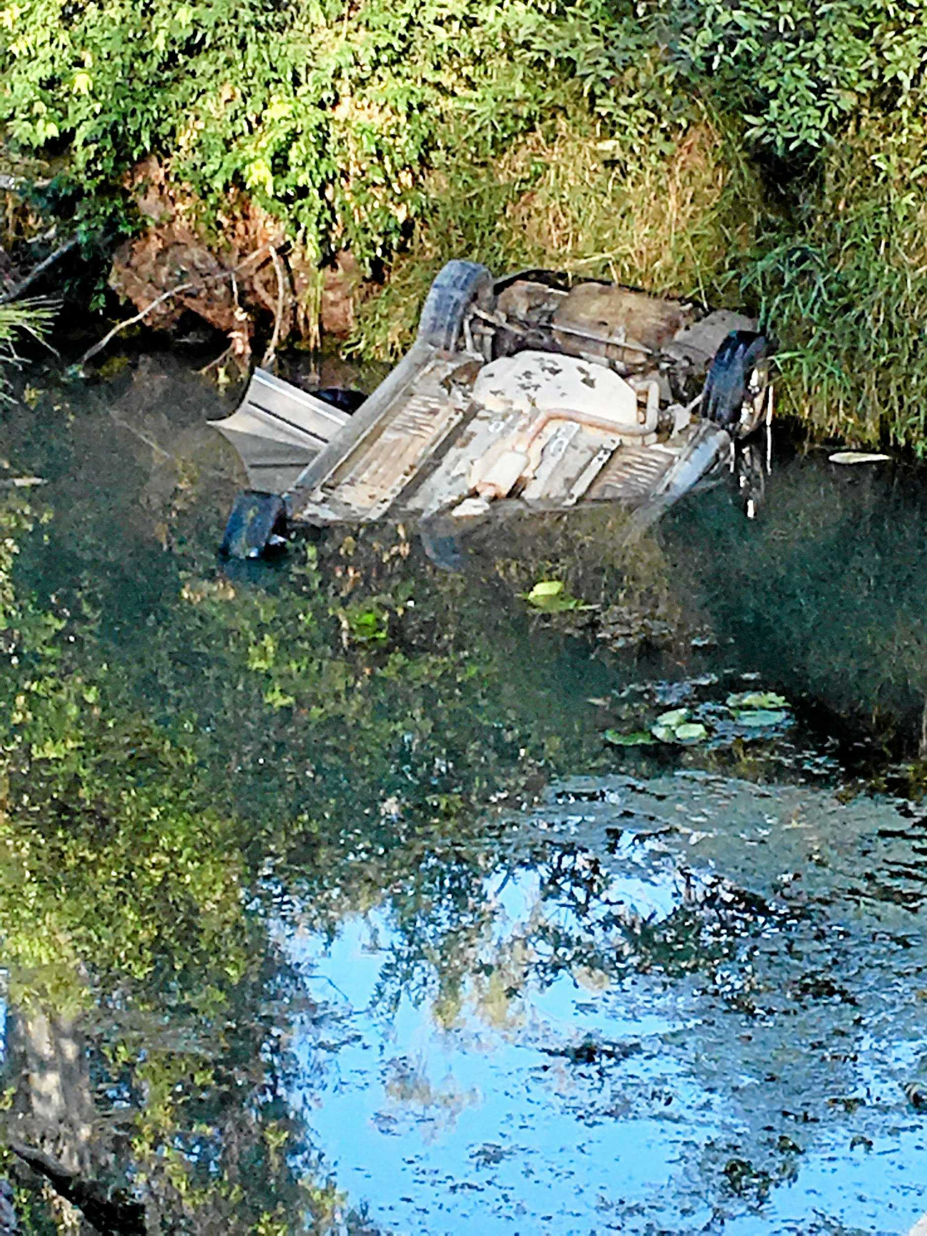 The site of the crash at the Running Creek bridge on Brooweena Woolooga Rd on Saturday April 23, where a young girl had to be resuscitated after her mother pulled her from the submerged car.