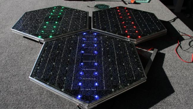 Solar road panels made by US company Solar Roadways.