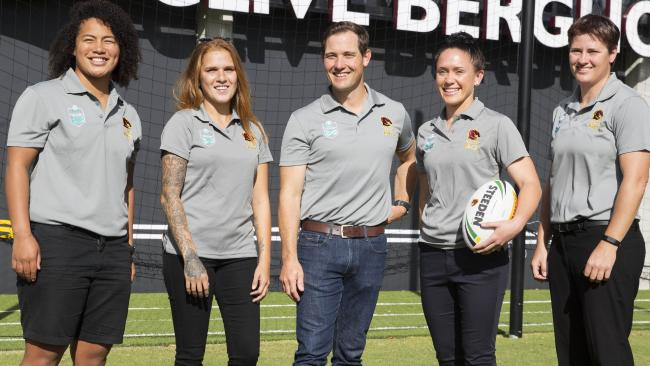 Coach Paul Dyer with Broncos signings Teuila Fotu-Moala, Caitlin Moran, Brittany Breayley and Heather Ballinger. Photo: Lachie Millard
