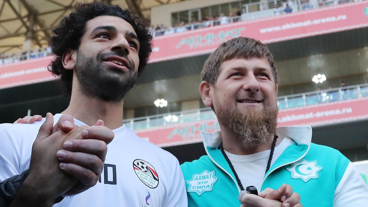 Egypt's star striker Mohamed Salah poses with the head of the Chechen Republic, Ramzan Kadyrov, during training at the Akhmat Arena stadium in Grozny. Picture: Karim Jaafar/AFP