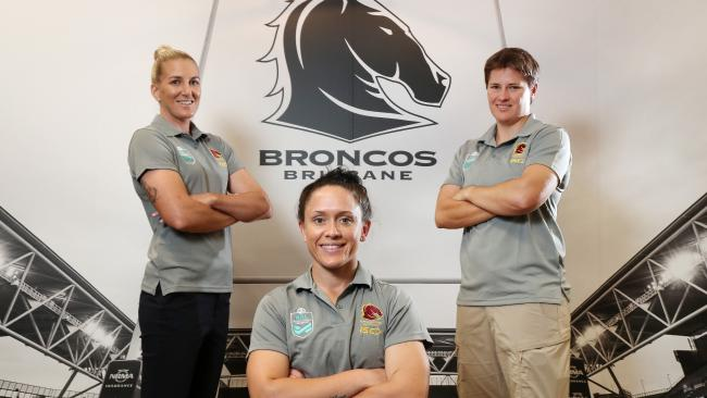 Broncos rugby league players Ali Brigginshaw, Brittany Breayley and Heather Ballinger. Photo: Liam Kidston.