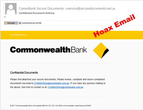 Just. Don't. Click: And example of a Commonwealth Bank scam. Supplied by Sophos