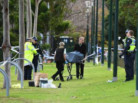 Police on the scene at Carlton North. Picture: AAP