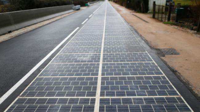 This is the world's first solar panel road in Tourouvre, Normandy, northwestern France which was inaugurated in December 2016. Picture: Charly Triballeau