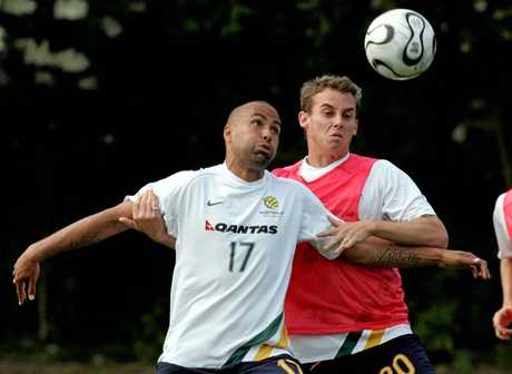 FLASHBACK: Archie Thompson and Luke Wilkshire at a World Cup training session in Germany 2006.