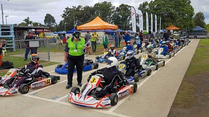 READY SET: Drivers under starter's orders at the Australian Kart Masters.