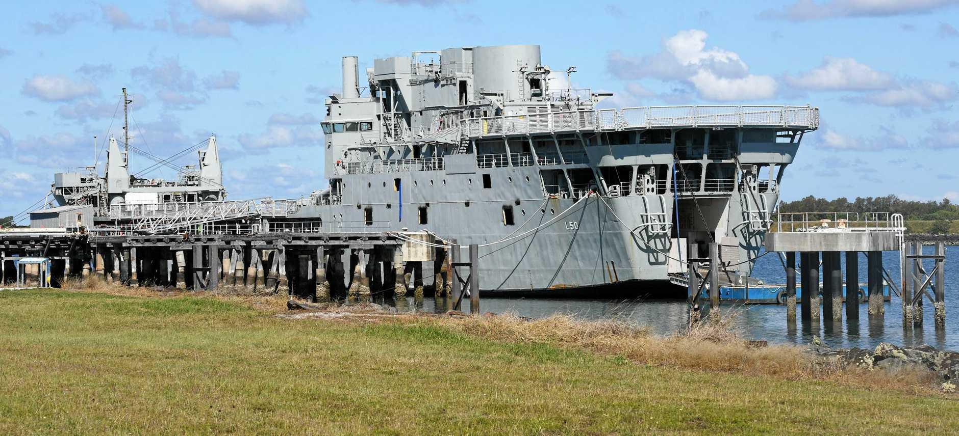 Ex-HMAS Tobruk in the Bundaberg Port.