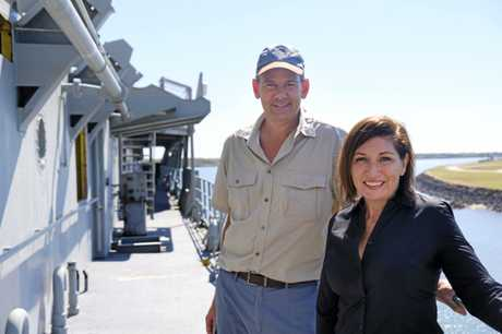 SCUTTLE: Environment Minister Leeanne Enoch (right) and project manager Steve Hosack aboard ex-HMAS Tobruk.