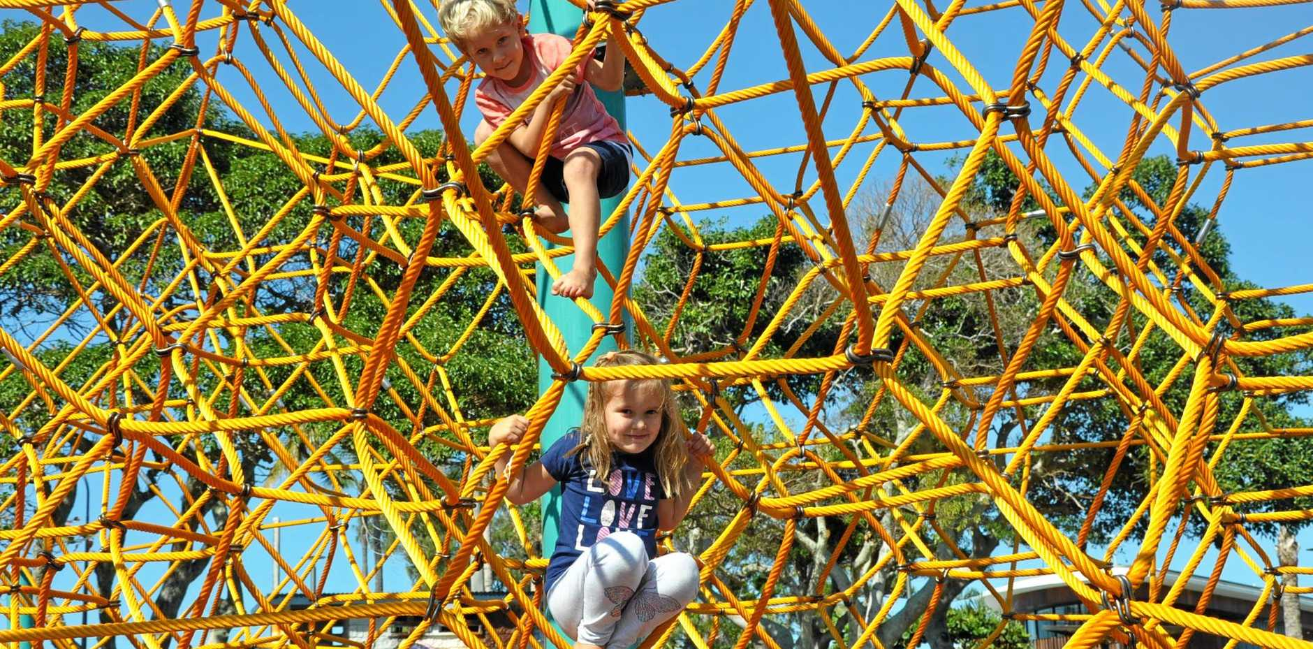 William Semmler and Kate Varley were happy to play on the new Octa Net in Appleton Park Yeppoon