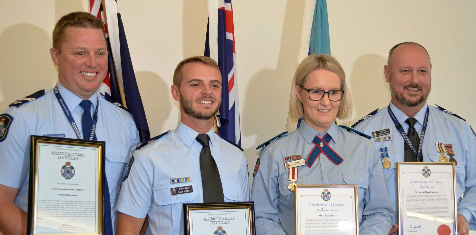 Snr Const Damien Corsan, Const Tyler Roberts, Lisa Smith and Snr Sgt Brett Smith were awarded for their service to the public.