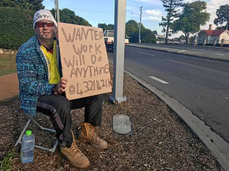 James Steele sat at the five ways with a sign on Thursday morning, in a desperate search for work.