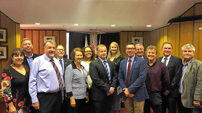 Ipswich councillors with chief executive officer Sean Madigan and former acting CEO Gary Kellar.
