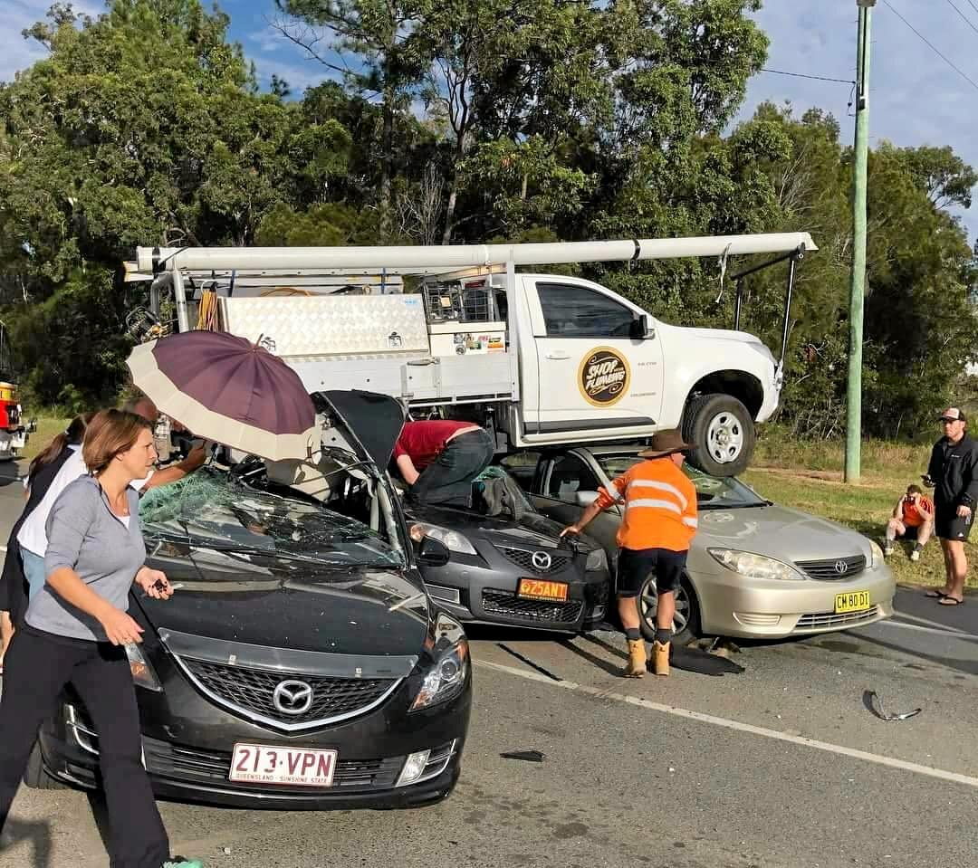 Paramedics are on the scene of a serious multi-vehicle crash on Pumicestone Rd that occurred at 8.30am.