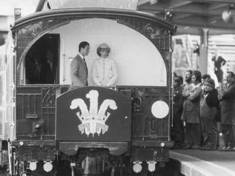 Prince Charles and Princess Diana aboard the special state coach Royal Train en route to Ballarat, Victoria. Picture: Supplied
