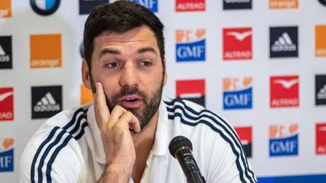France back-rower Kevin Gourdon speaks at a media conference in Auckland.