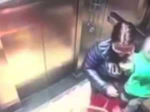 Babysitter caught punching child in lift