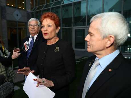 Pauline Hanson in happier times with Malcolm Roberts and Brian Burston during a press conference at Parliament House in Canberra. Picture: Gary Ramage