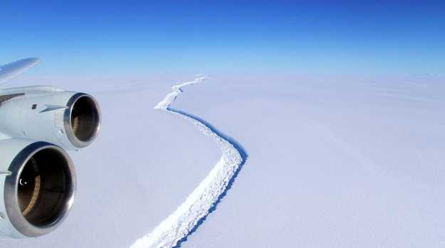 A view of the Larsen C ice rift in Antarctica. A trillion-tonne iceberg, one of the biggest on record, snapped off the West Antarctic ice shelf in 2017. Picture: John Sonntag/AFP/NASA