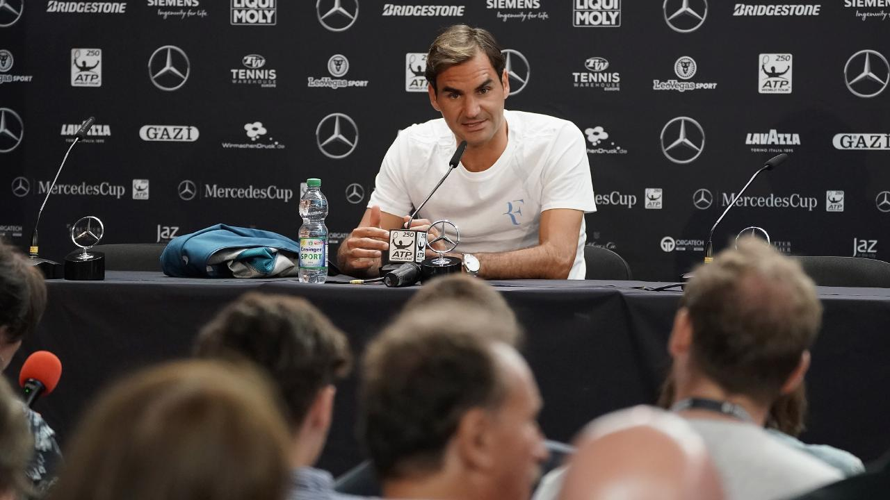 Roger Federer holds court on his return to action.