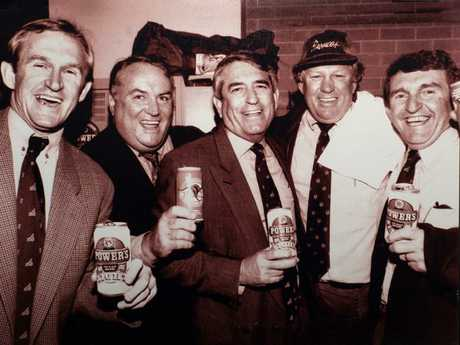 Gary Balkin (second from left) with fellow Broncos founders (from left) Steve Williams, Barry Maranta and Paul Morgan and sponsor Bernie Power.
