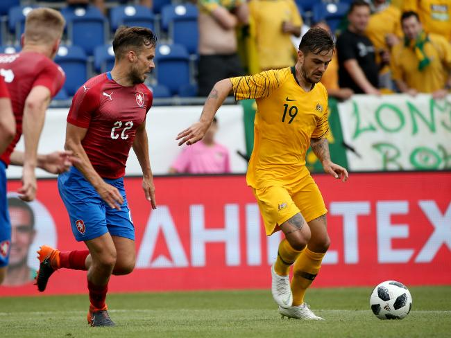 Risdon controls possession during the friendly win over the Czech Republic. Picture: Toby Zerna