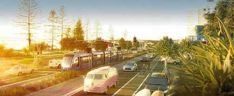 An artist's impression of a light rail system on the Sunshine Coast.