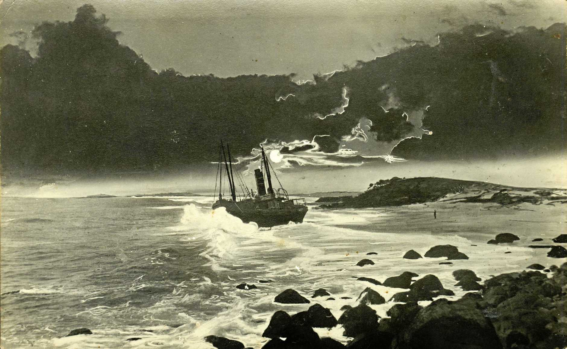 STUCK: The Duranbah aground on the beach, November 1919.
