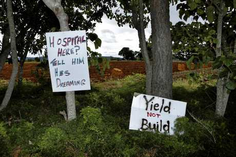 HOSPITAL: Protest signs outside the proposed new hospital site at Cudgen this week.