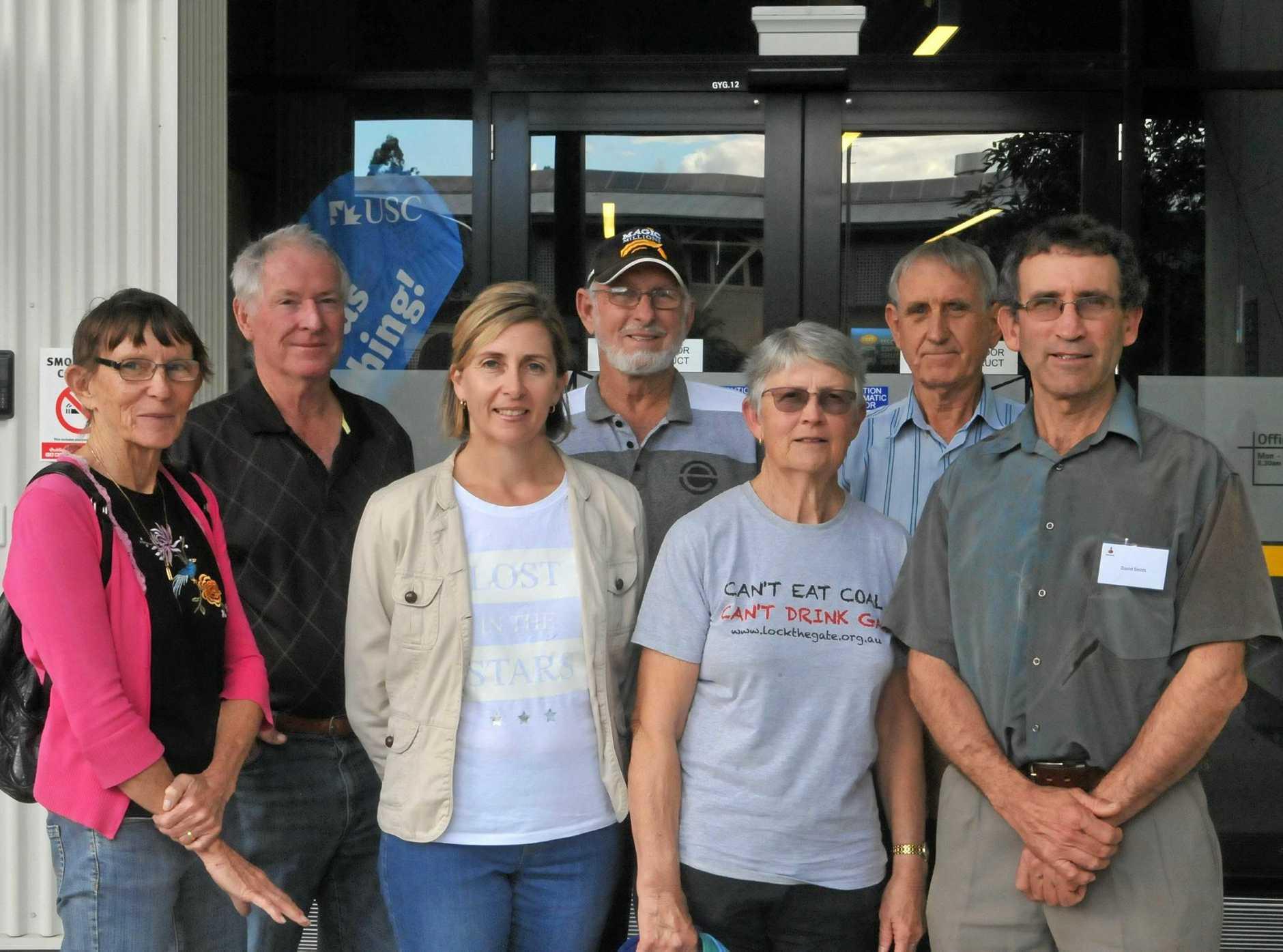 FROM LEFT: Jan and John Porter, Karen Jarling, Rob Gibbs, Pamela Scott-Holland, Professor Peter Dart and filmmaker David Smith are campaigning against the Colton open cut Coal Mine.