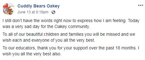 A post shared by Cuddly Bears on Facebook about its closure. Screenshot on June 15 2018.