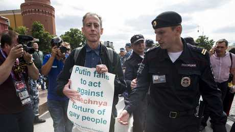 Peter Tatchell has been charged with a criminal offence for staging a protest near Moscow's Red Square about LGBTI rights in Chechnya.