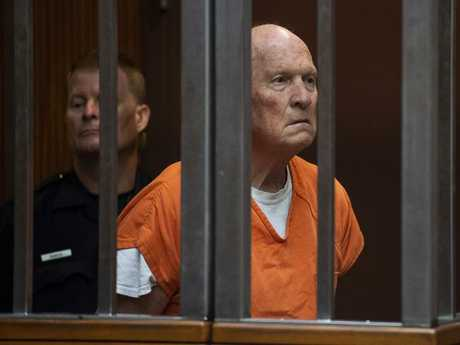 Joseph James DeAngelo stands in a jail court as a judge weighed how much information to release about the arrest of the former police officer accused of being the Golden State Killer. Picture: AP